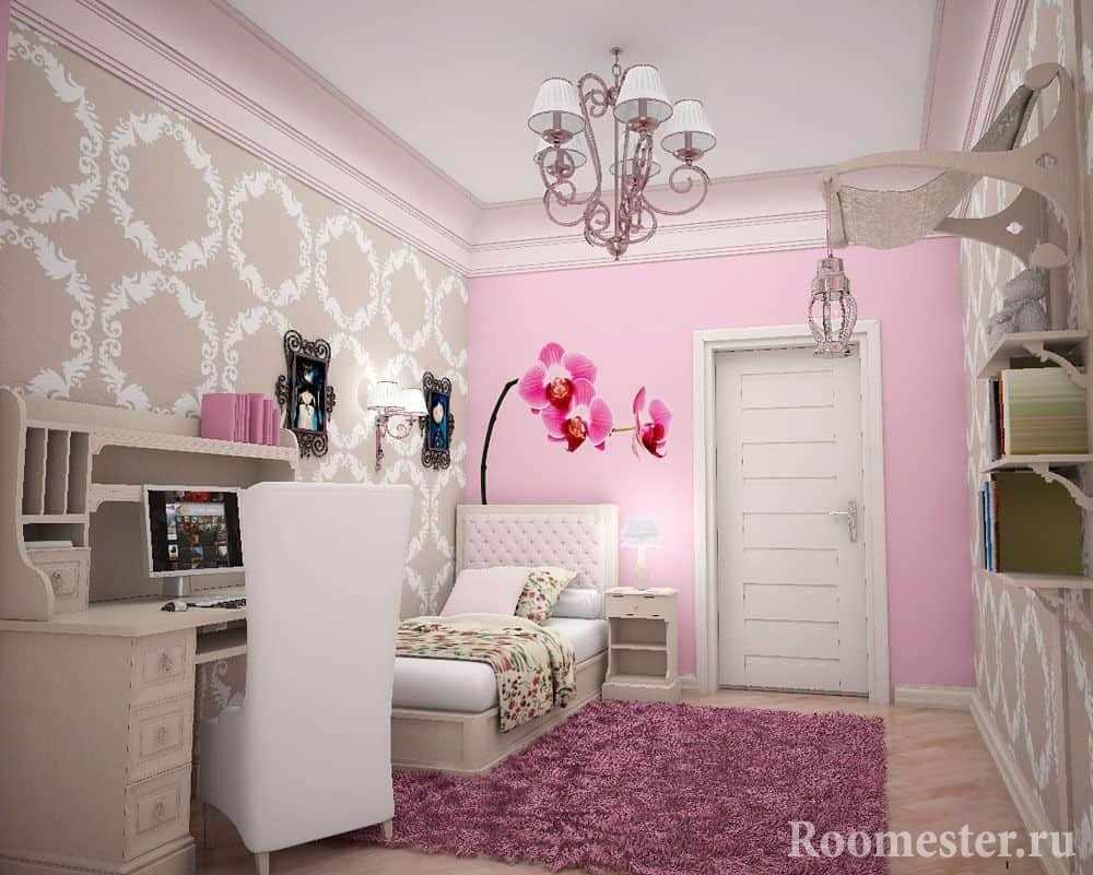 Розовый цвет почти всегда присутствует в комнате девочки подростка