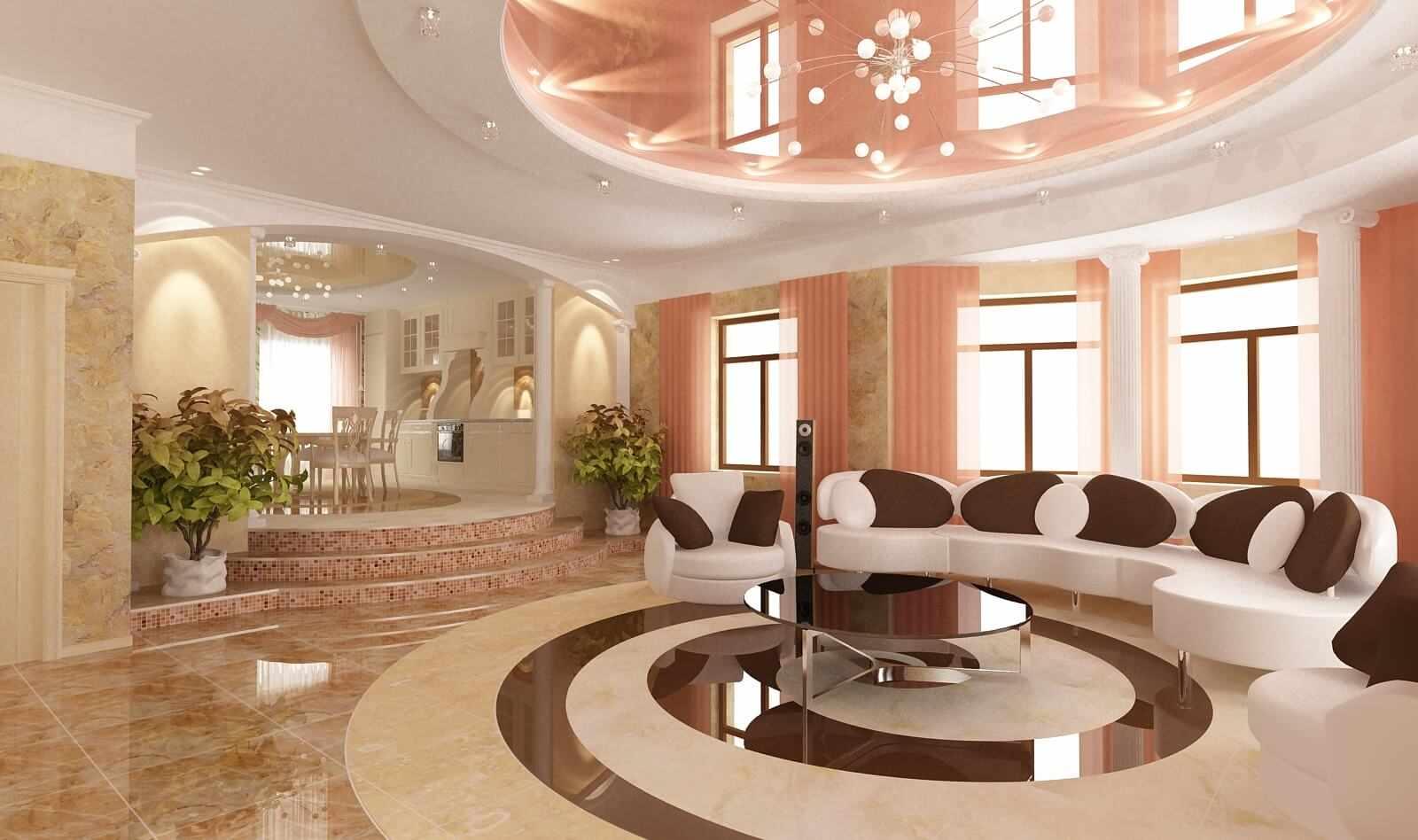 Сочетание персикового и белого в дизайне потолка