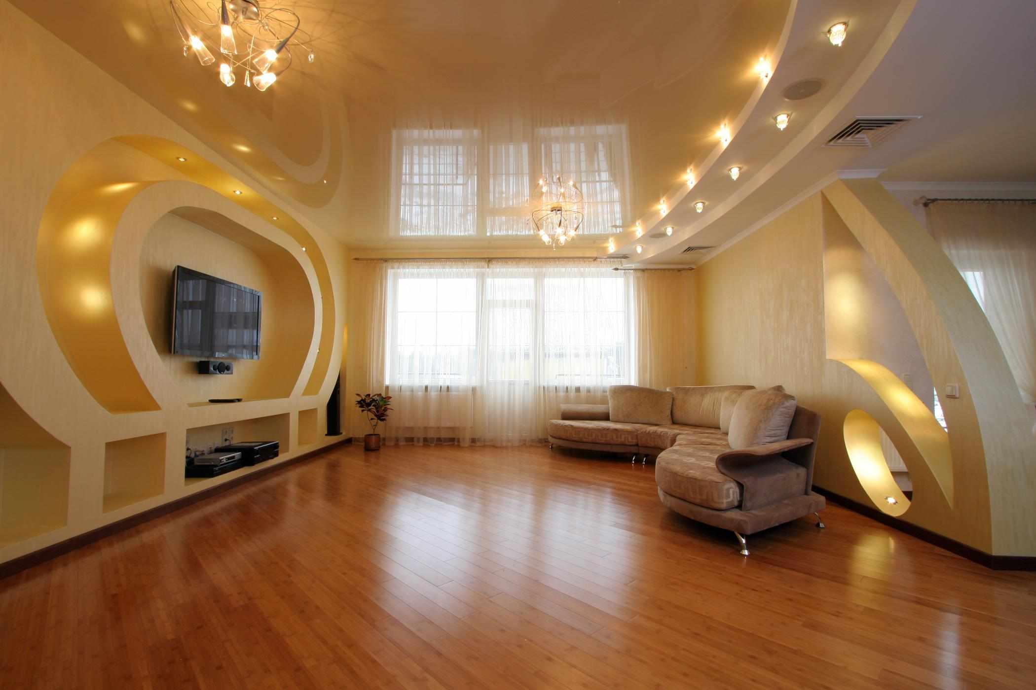 Вариант освещения в большой гостиной