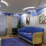 Синий и белый в дизайне гостиной