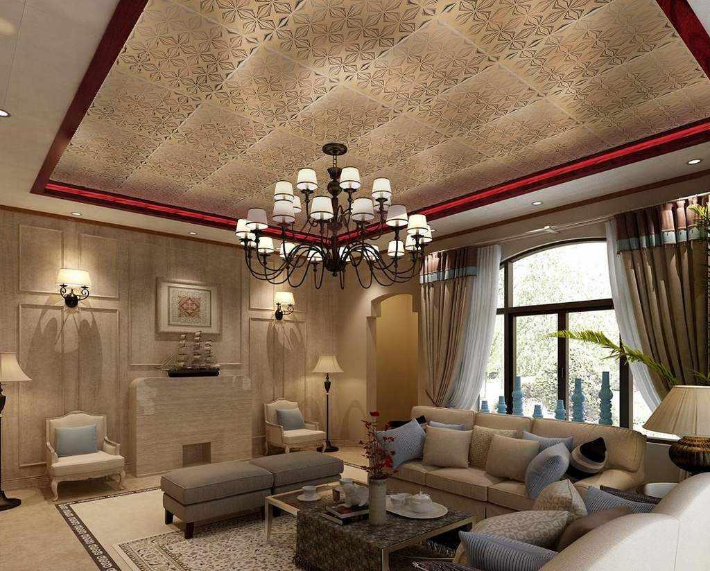 Гостиная в классическом стиле с высоким потолком
