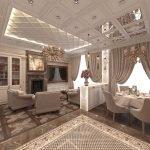 Сложный потолок в гостиной