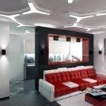 Красно-белый диван в интерьере
