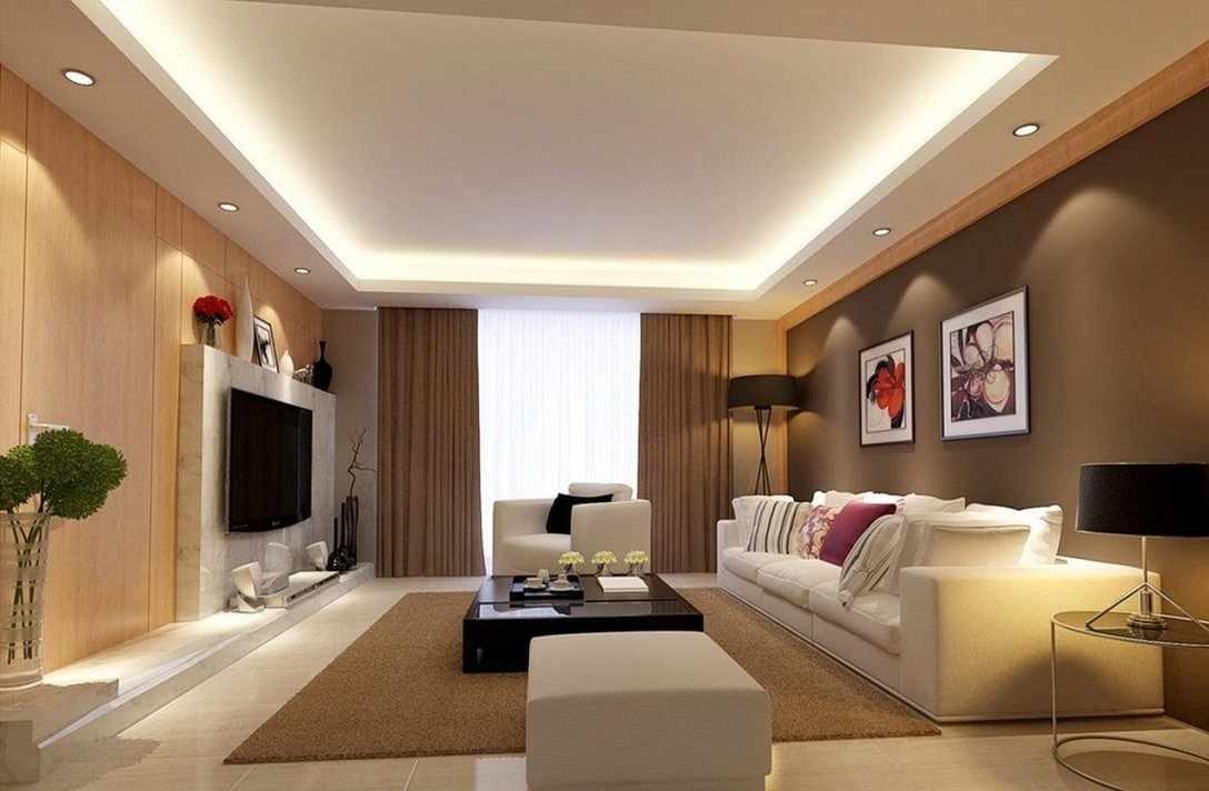 Потолок с подсветкой в зале
