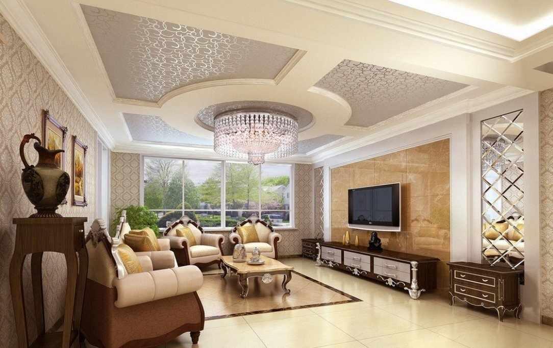 Дизайн потолка в зале в классическом стиле