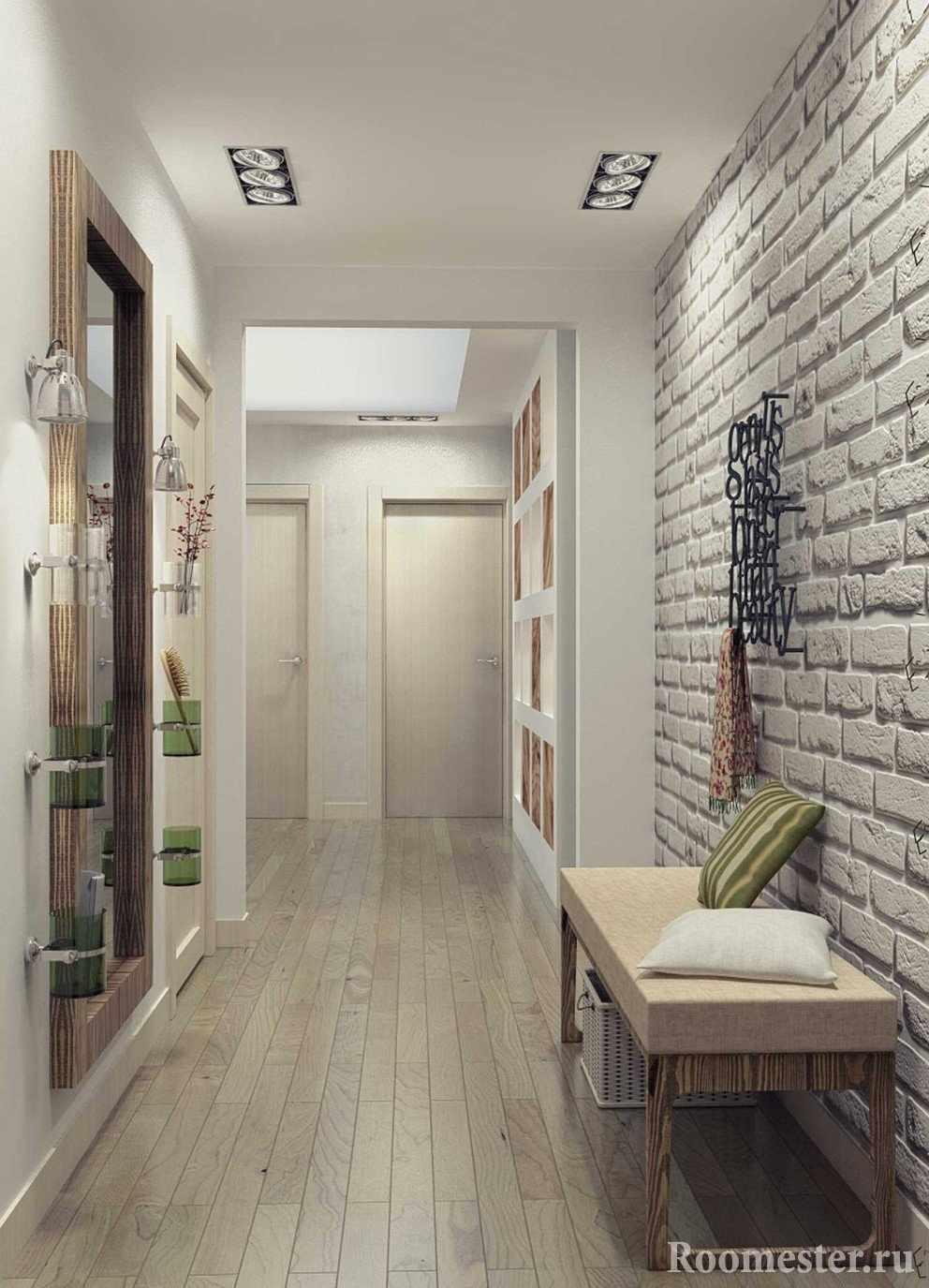Кирпичная стена в дизайне прихожей