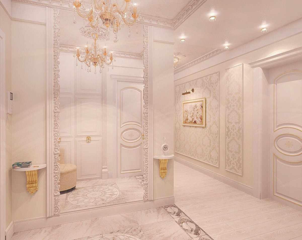 Прихожая в классическом стиле с многоуровневым потолком