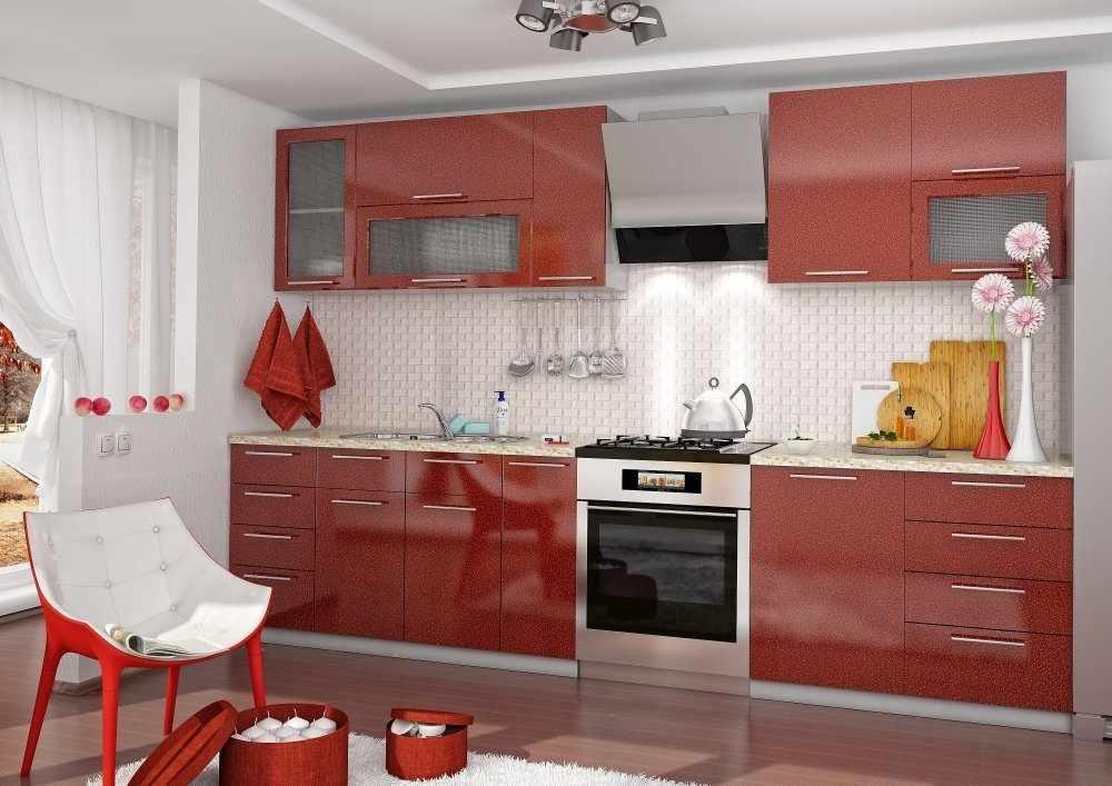 Бардовый кухонный гарнитур в интерьере