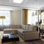 Плитка и ламинат на полу квартиры-студии