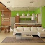 Сочетание салатового цвета и дерева в интерьере