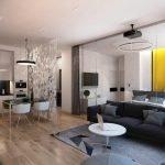 Черный диван и белый столик в гостиной
