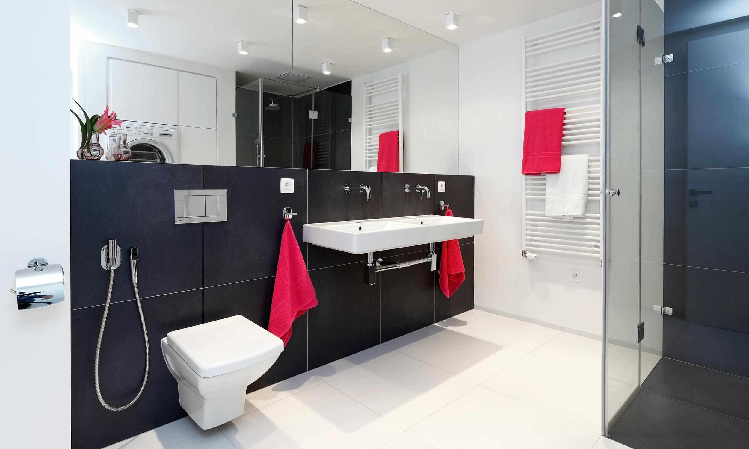 Красный, белый и черный в дизайне ванной