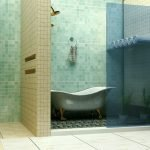 Вариант зонирования пространства в ванной комнате