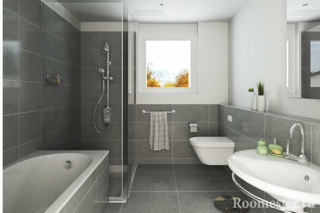 Серая плитка в интерьере ванной