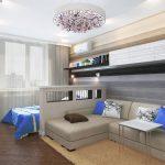 Комната с зонами гостиной и спальни