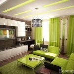 Салатовые шторы и мебель в гостиной