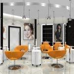 Светлый интерьер с оранжевыми креслами