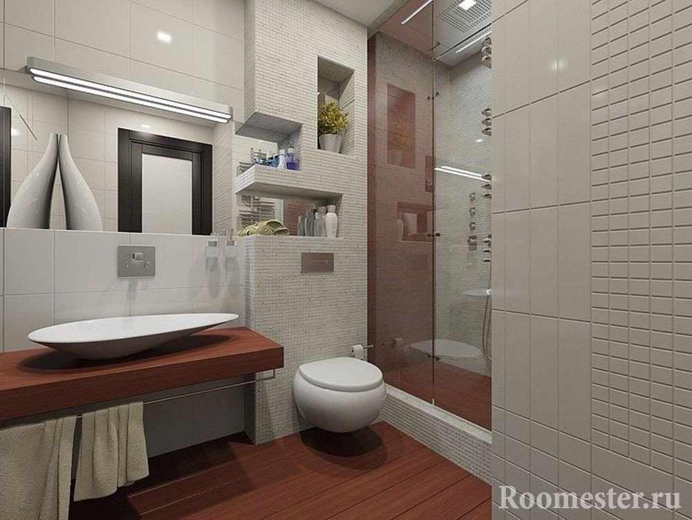 Ванная комната с унитазом и душевой кабиной