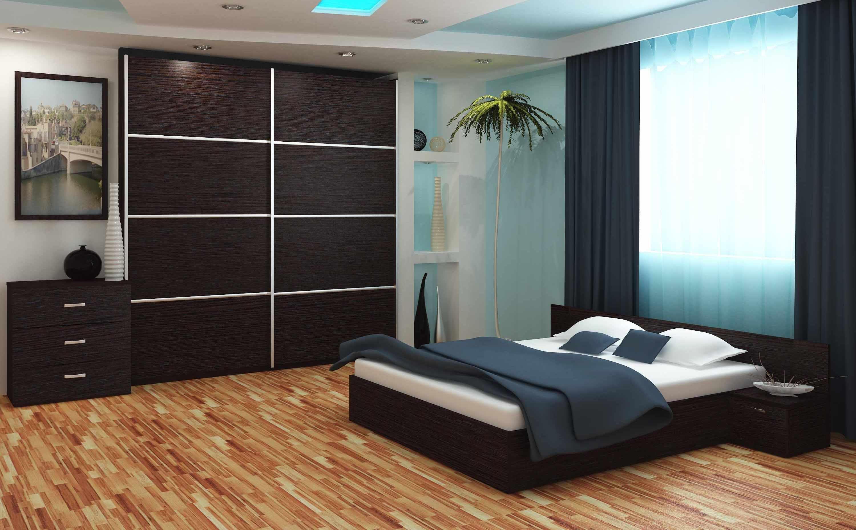 Темный шкаф-купе в спальне