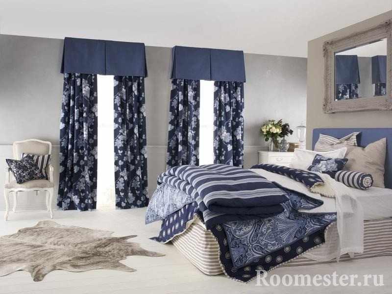 Сочетание цвета штор и текстиля в спальне