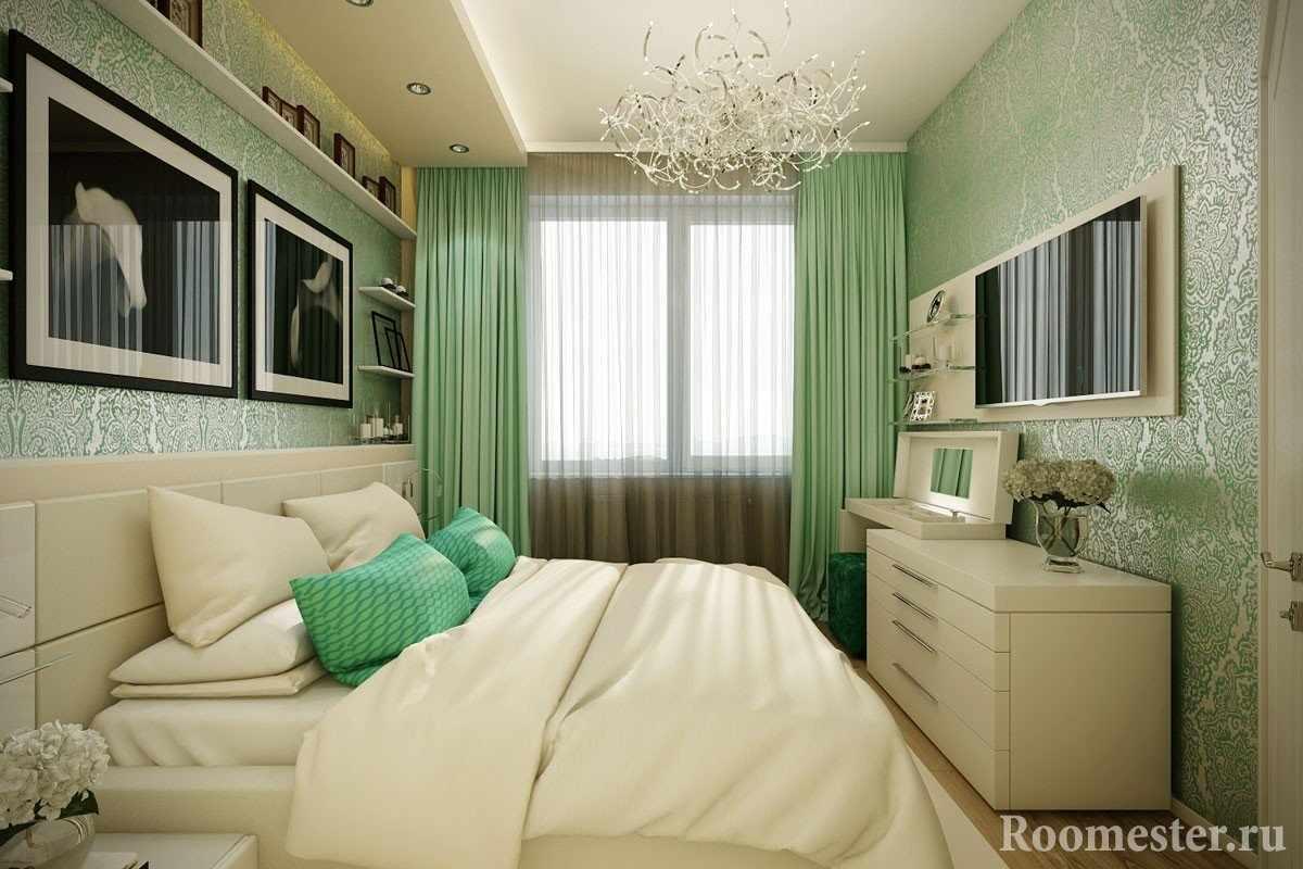 Спальня в бежево-зеленых тонах