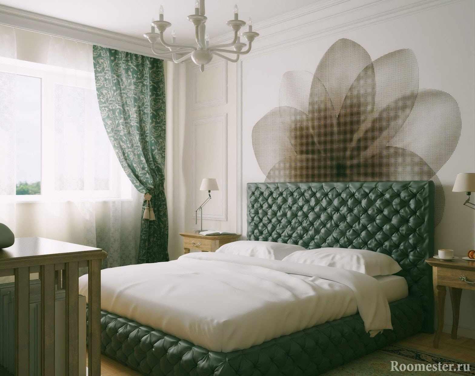 Бело-зеленая спальня