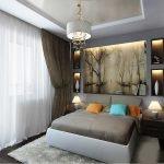 Ниша с подсветкой в спальне 11 кв. м.