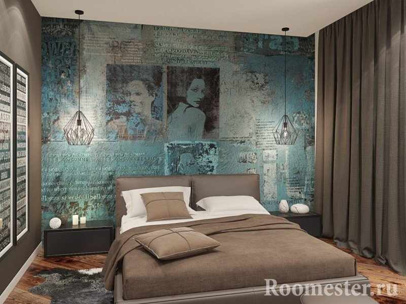 Расписная стена в спальне