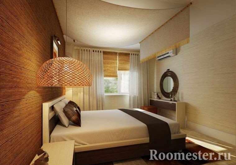 Отделка стен бамбуковыми панелями в спальне