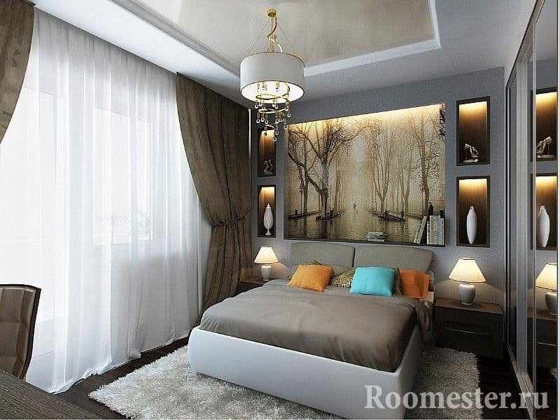 Современный дизайн спальни 13 квадратных метров