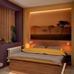 Пейзаж сафари на стене спальни