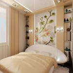Полки на стене за кроватью