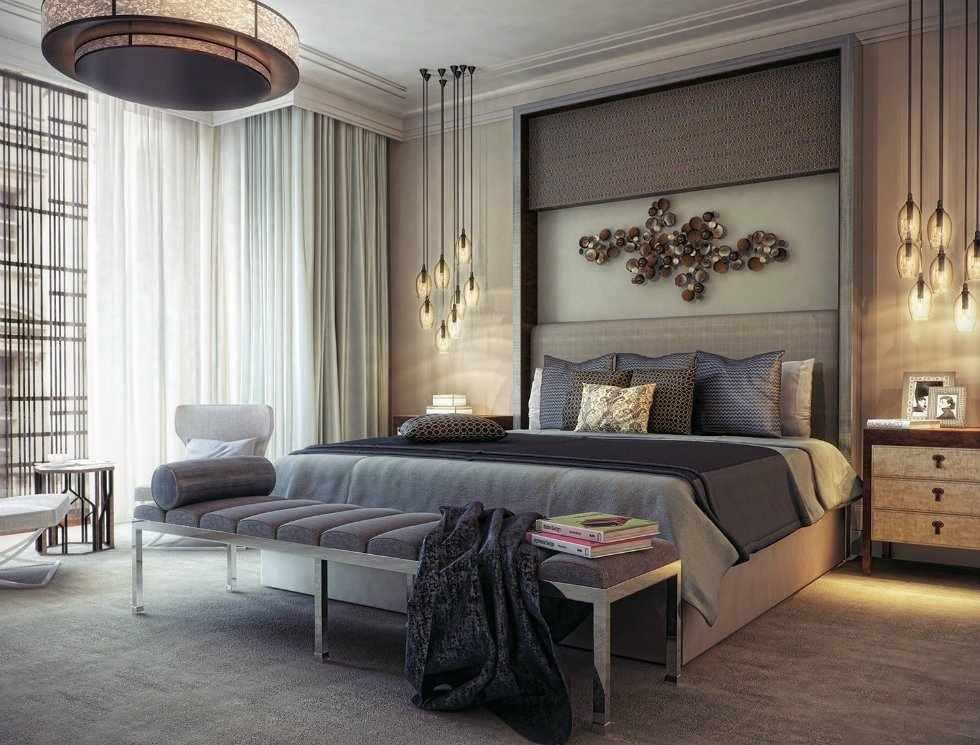 Современная спальня 16 кв. м.