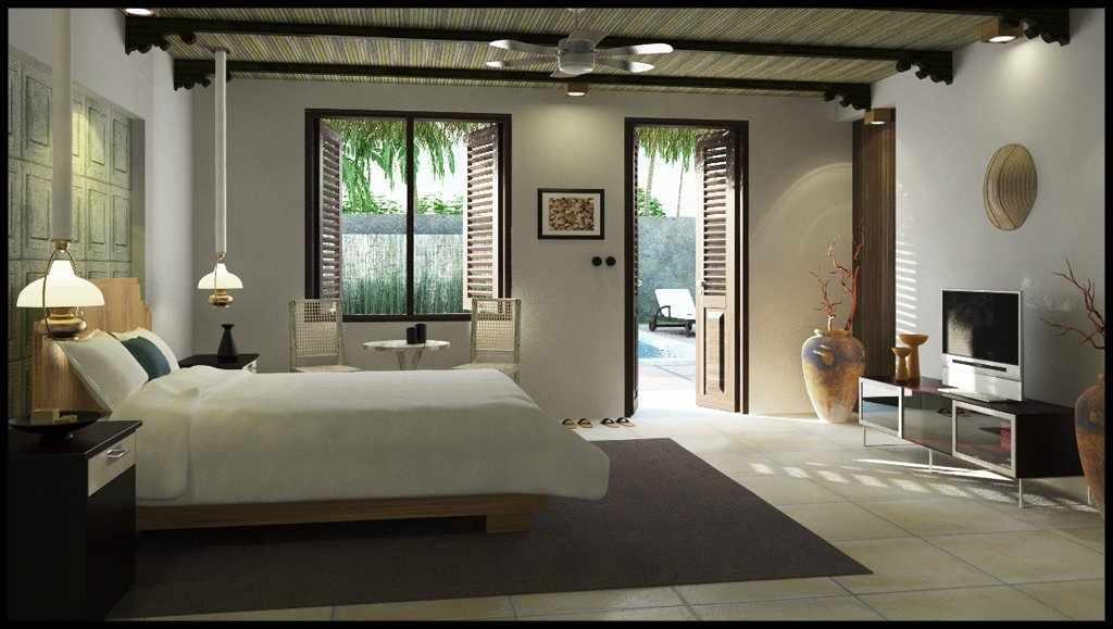 Просторная спальня в деревенском стиле