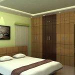 Оливковые стены в современной комнате