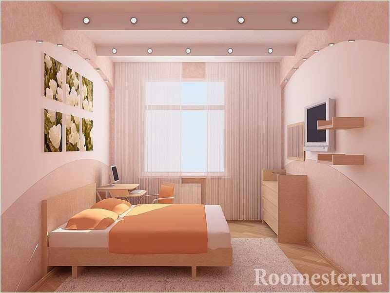 Встроенные светильники в интерьере спальни