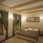 Балки в интерьере спальни