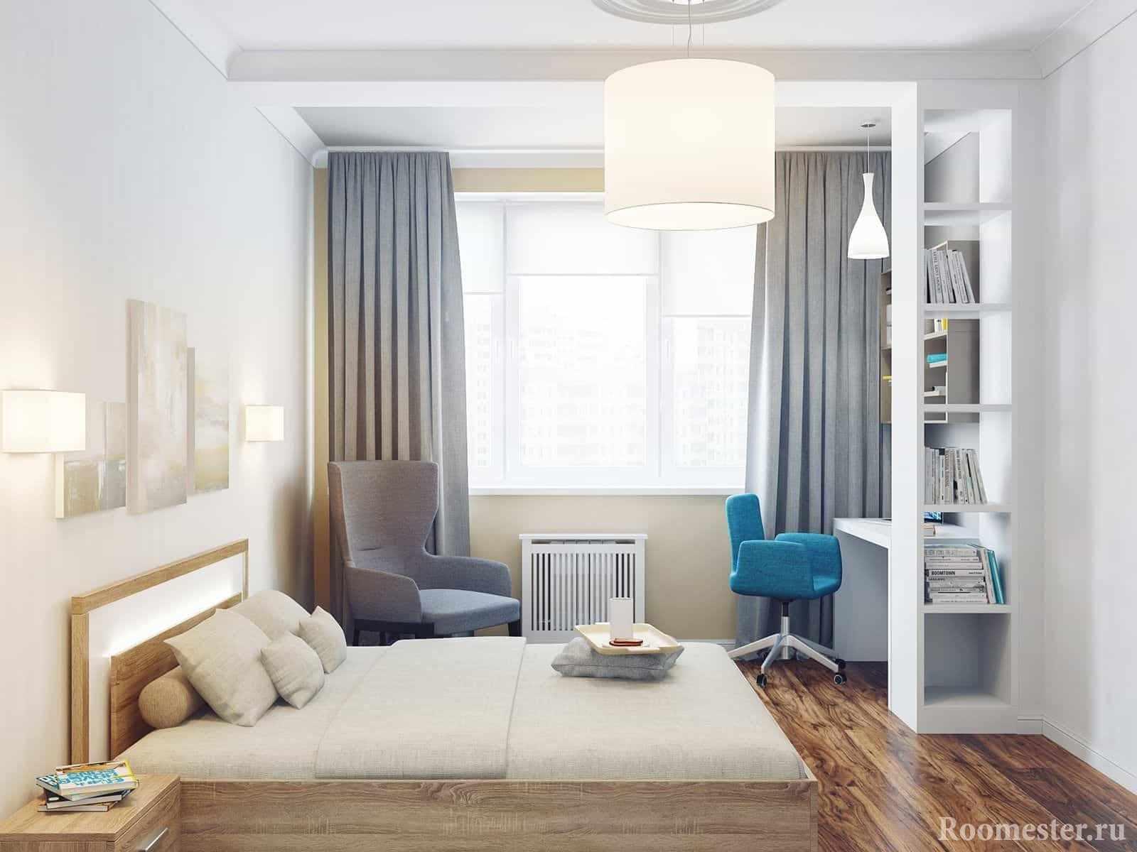 В спальне 4 на 4 может поместиться не только кровать, но и кресло и уголок с рабочим местом