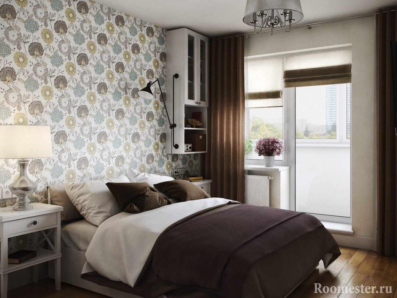 Сочетание обоев в маленькой спальне