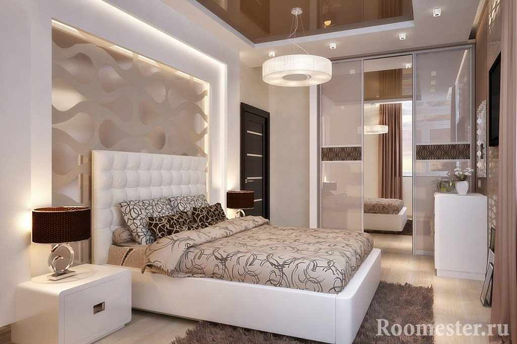 Бежевые тона в интерьере спальни