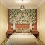 Зеленые обои на стене за кроватью