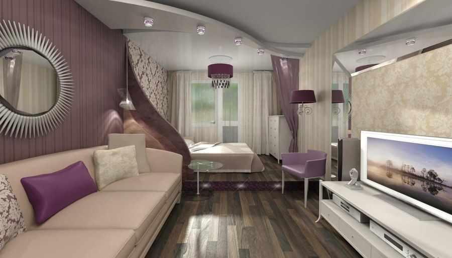 Сиреневый в интерьере спальни-гостиной 18 кв м