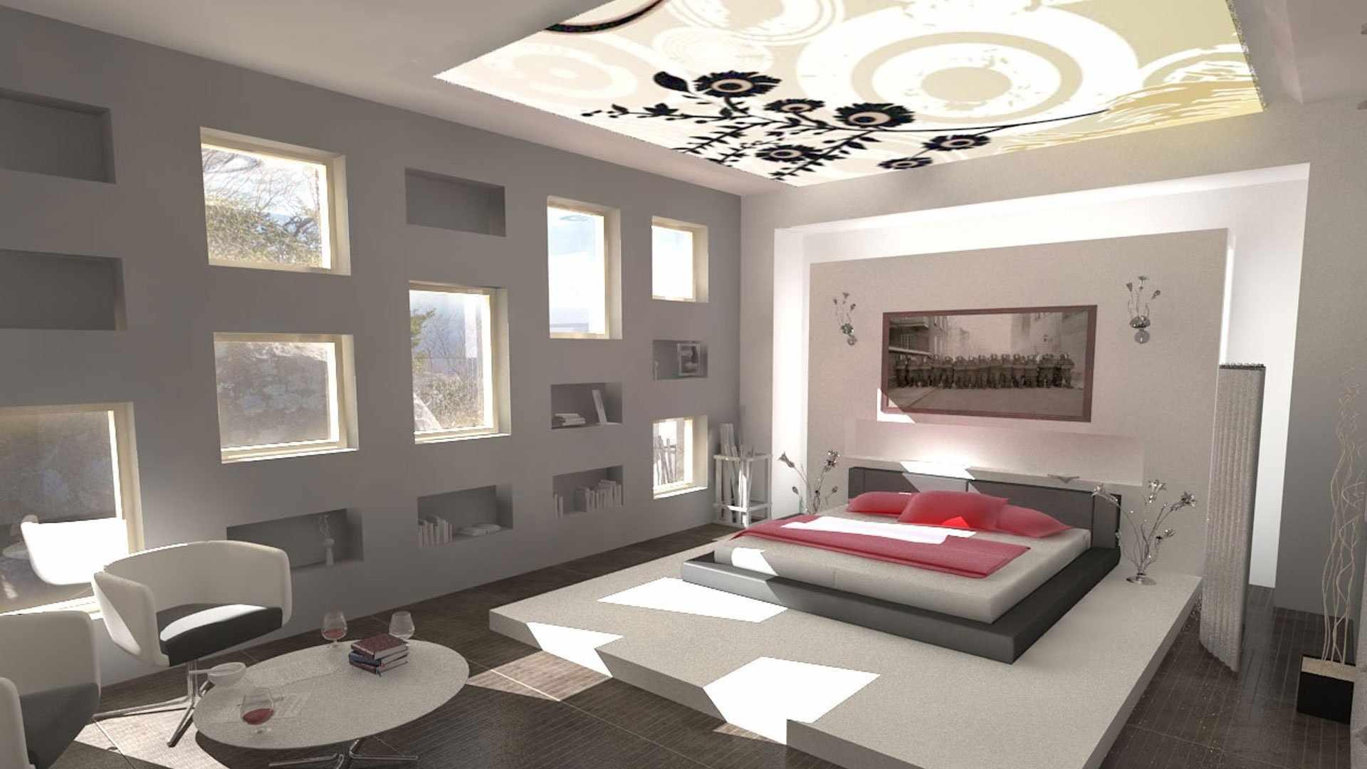 Окна по всей стене в спальне-гостиной 18 кв м