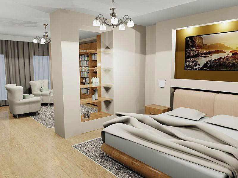 Люстры и встроенные светильники в интерьере спальни-гостиной
