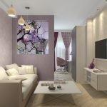 Освещение спальни-гостиной из подвесных люстр и встроенных светильников