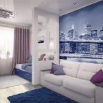 Мегаполис на фотообоях в гостиной