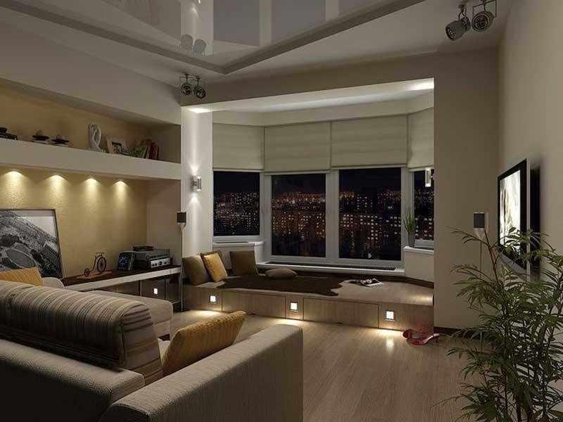 Встроенные светильники в полу и полках спальни-гостиной