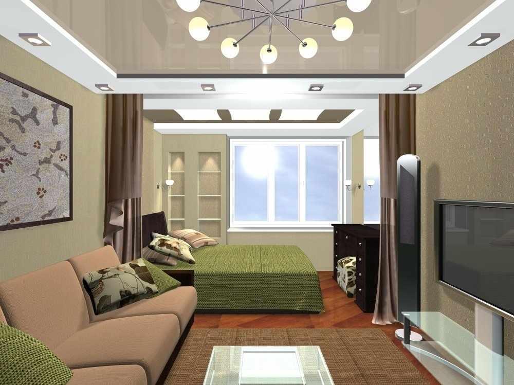 Современный дизайн спальни-гостиной 18 кв м