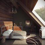 Панорамное окно в спальне на мансарде