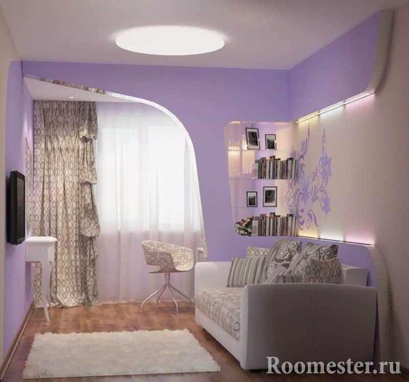 Раскладной диван с сиреневой спальне
